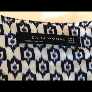 Zara Dresses - Zara blue and white 3/4 sleeve tunic dress size S